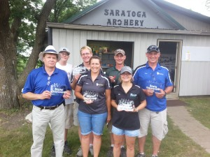 Winners from Saratoga Archery Club Front Row: Steve Wyffels – 1st place, Cheri Irlbeck – 1st Place, Kim Jenniges – 1st Place Back Row: Tristan DeWitte – 1st place, Clint Irlbeck – 1st Place, Jamie Jenniges – 2nd Place, Todd Nelson – 1st Place